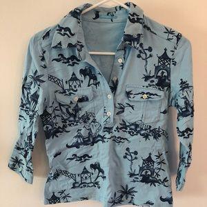J McLaughlin Asian Print Pagoda Japan Top Shirt 👚
